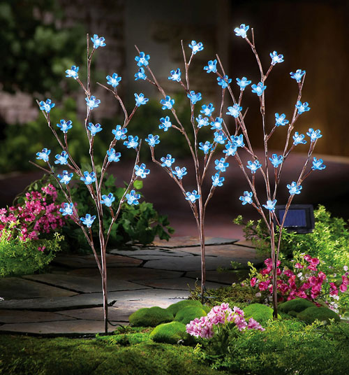 S/3 Solar Led Blue Flower Branch Garden Stakes