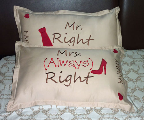Mr & Mrs Right Pillow Cover